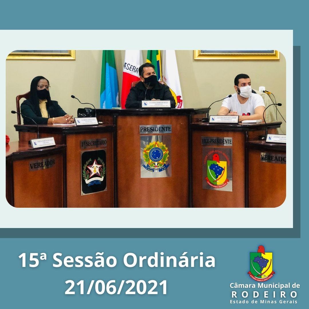 Reprise da 15º Sessão Ordinária